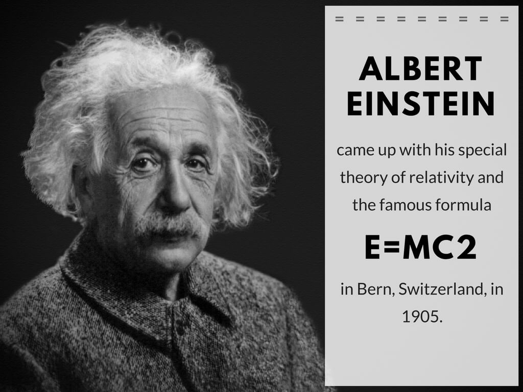 Albert Einstein came up with his special theory of relativity and the famous formula E=MC2 in Bern, Switzerland, in 1905.
